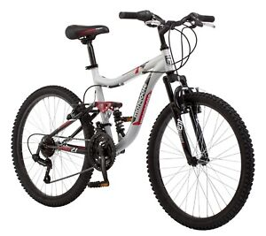 Mongoose Ledge 2.1 Mountain Bike, 24-inch wheels, 21 speeds, boys Silver/ Red