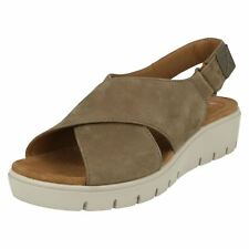 Ladies Unstructured by Clarks Casual Sling Back Sandals Label - Un Karely Hail Sage Nubuck UK 5 D