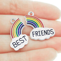 10PCS Multi-Color Matching Pair Rainbow Best Friends Charms Pendant DIY Findings