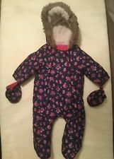 Baby girls F&F floral navy & pink snowsuit 0-3mths