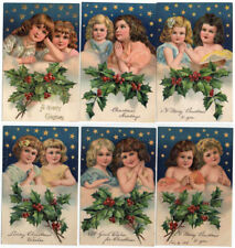 Beautiful Lot of 6 ~Christmas Postcards~Pretty Girls with Stars & Holly~PFB-b926