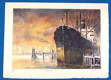 "Iconic John Kelly ""Dockside"" Original Silkscreen Lithograph LE Signed"