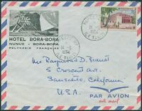 French Polynesia 1958 Sc#195,SG10 16f Post Office Papeete on piece FU