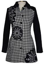 Desigual Coat  NWT SZ 6 / 38 Black White Houndstooth Pockets Design Front Button