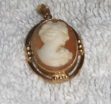 Antique Victorian Mother Of Pearl Lady Cameo 10 K Brooch Necklace Pin Pendant