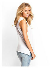 GUESS Sz M OVERSIZED TEE SHIRT TOP WITH SILVER SHOULDER STUDS White NWT