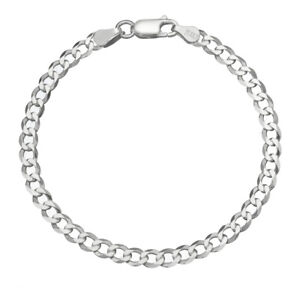 Solid 925 Sterling Silver Men's Italian 4.5mm Cuban Curb Link Chain Bracelet