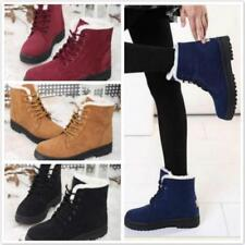 Winter Womens Ladies Warm Fur Lined Lace Up Flat High Ankle Snow Boots Shoes LG