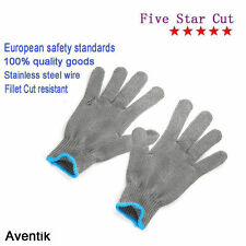 Aventik2 pcsFishing Fillet Cut Stainless Steel Resistant Thread Weave Tool Glove