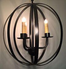 Sphere Chandelier/Pendant Light, Iron, 3 Lights & Ceiling Mount Kit, Dark Bronze