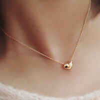 Korean Charm Mini Cute Heart Pendant Long Necklace Yellow Gold Filled Statement