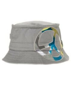 GYMBOREE SWIM SHOP GRAY PEACE BUCKET HAT 0 12 24 2T 3T 4T 5T NWT-OT