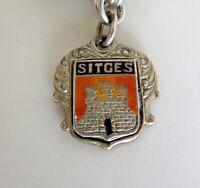 Vintage SITGES CATALONIA SPAIN  Sterling Enamel Travel Shield Charm RARE