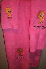 Tweety Bird Personalized 3 Piece Bath Towel Set  Any Color