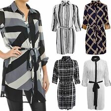LADIES PINSTRIPE CHECK CHIFFON SHIRT DRESS WOMENS LONG SLEEVE BELT BLOUSE TOP