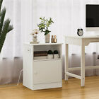 Nightstand+with+Charging+Station+End+Table+with+Cabinet+and+Open+Shelf+White+