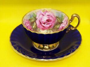 ANSLEY ENGLAND 4 PINK ROSES SIGNED J.A.BAILEY TEACUP & SAUCER COBALT BLUE & GOLD