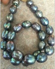 "stnning 9-10mm tahitian baroque black green grey pearl Loose beads 15""01"