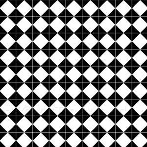 1: 12th Groß Klassisch Schwarz und Weiß Diamant Design Fliesen-Blatt