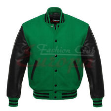 Top Varsity Letterman College Green Wool Jacket with Real Leather Sleeves XS-4XL