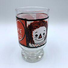 Vintage 1972 Raggedy Ann Glass Juice Cup Bobbs-Merril I Love You Heart