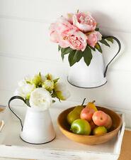 COUNTRY ENAMEL FLOWER VASE Milk Jug Wall Art Pitcher Table Centerpiece Decor Mom