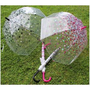 Ladies Spotty Leopard Print Snakeskin Clear Dome Rain Walk Umbrella