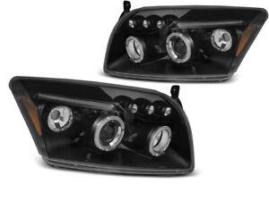 Headlights for Dodge Caliber 2006-2009 2010 2011 2012 VR-1255 Angel Eyes Black
