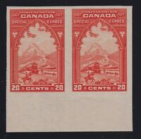 Canada Sc #E3a (1927) 20c orange Special Delivery Imperforate Pair Mint VF NH