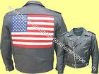 Mens Leather American Patriotic USA Flag Motorcycle Biker Jacket Coat