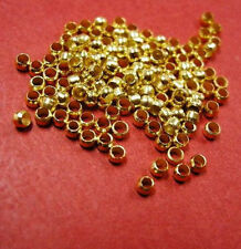 100pc Gold Crimp Round Stopper Metal Bead 2mm-370Q