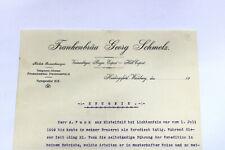 Altes Zeugnis FRANKENBÄU GEORG SCHMELZ 1910 Heidingsfeld