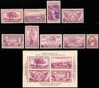 1935-36 Year Set of 9 Commemorative Stamps & S/S Mint NH - Stuart Katz