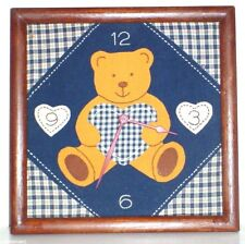 Bear Hand Stitched Cloth Clock in Frame ~ NIB