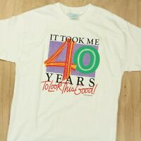 vtg 80s 90s usa made 40th birthday funny gift t-shirt LARGE peacock papers