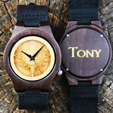 Personalized Mens Wooden Watch Engraved with Golden Painted Natural Wood Bamboo