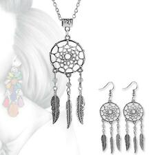 Bohemian Gypsy Dream Catcher Pendant Necklace / Earrings with feather dangles hg