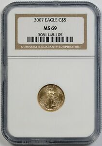 2007 Gold Eagle $5 NGC MS 69 (Tenth-Ounce) 1/10 oz Fine Gold