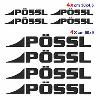 Kit completo 8 adesivi per camper Pössl NERO loghi possl caravan roulotte