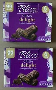 12 bars Bliss Crispy Delight Indulgent Chocolate Bars Less than 99 Calories