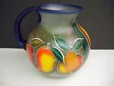HANDBLOWN AND HANDPAINTED PITCHER WITH 4 MATCHING GLASSES FROM MEXICO