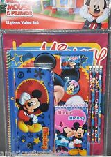 Disney Mickey Mouse 11 piece Stationary Set-Folders,Note pad,Pencils,Case-New!!