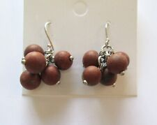 Fashion Earrings- round beads- silver tone- brown dangly- french wire