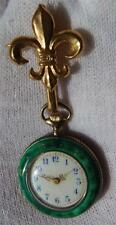 Mega rare Duplex Enamel ladies Lily brroch watch for Chinese market c1850s.Box