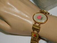 """Vintage Gold tone Aluminum Spring Flower Link 7"""" Bracelet 3h 50"""