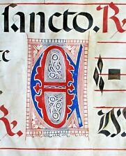 Deco.huge Antiphonary Manuscript Lf.Vellum,fancy E&2unusual D&G initials, c.1500
