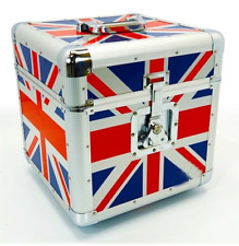 "NEW Premium UNION JACK 12"" Record LP Vinyl Carry Case Storage Box HOLDS 100"