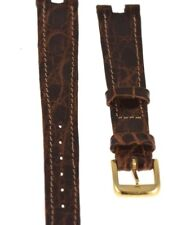Correa Omega - De cocodrilo marrón -13mm - Hebilla chapado en oro