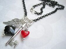HEART KEEPERS KEY CHARM WING Chain Necklace Beaded Roses Gothic HALLOWEEN Alice
