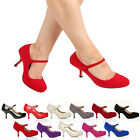 WOMENS LADIES MARY JANE ANKLE STRAP MID HEEL OFFICE WORK PARTY COURT SHOES